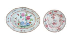A Chinese famille rose oval dish