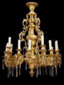 A French gilt bronze fifteen light chandelier in Louis XIV taste