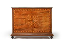 A Continental walnut and 'star burst' marquetry commode
