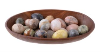 A collection of twenty two specimen hardstone models of eggs