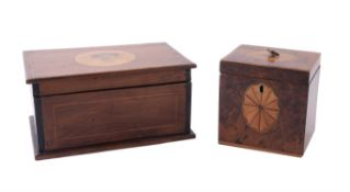 A George III yew and satinwood inlaid tea caddy