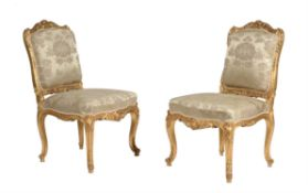 A pair of French side chairs in Louis XV style