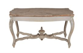 A grey painted centre table in Louis XV style