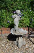 A cast lead figural bird bath or small fountain
