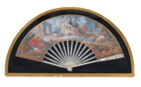 Y A French or Italian gouache, paper and ivory mounted fan