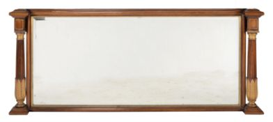 Y A rosewood and parcel gilt overmantel mirror