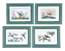 A set of twelve Chinese ornithological paintings on pith paper