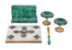 A pair of Russian malachite veneered and ormolu mounted small tazze