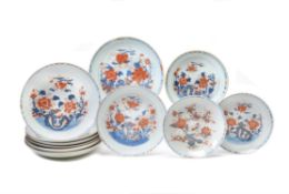 A group of eleven Chinese Imari dishes
