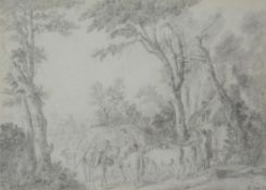 Attributed to Jean Louis De Marne (Belgian 1754-1829) , A country lane with figures and animals