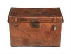 A Victorian hide leather traveling trunk