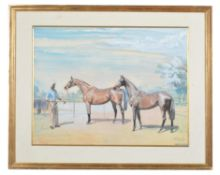 Pamela Searight (British 20th century) , A pair of polo ponies and handler