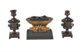 A Regency patinated and gilt bronze standish