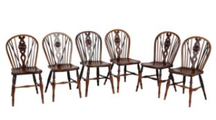 A set of six ash, elm and fruitwood Windsor chairs