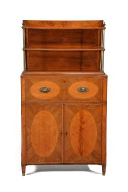 Y A George III rosewood, satinwood, and tulipwood banded secretaire side cabinet
