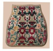 An Italian cut and voided velvet large seat cover or panel