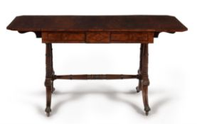 Y A Regency mahogany, rosewood crossbanded and gilt metal mounted sofa table