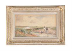 † Claude Hayes (Irish 1852-1922), Farmers watering their carthorses