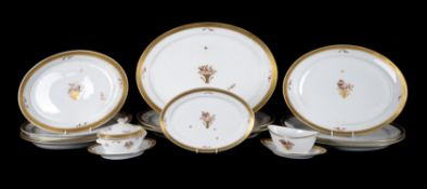 An extensive modern Royal Copenhagen 'Golden Basket' pattern part dinner and breakfast service