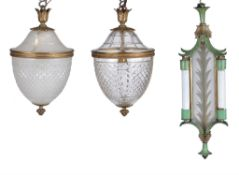 Two similar gilt metal and glass pendant ceiling lights