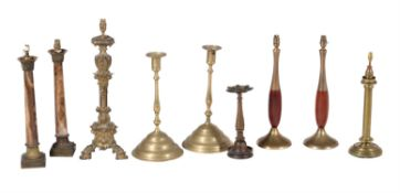 A collection of eight various table lamps