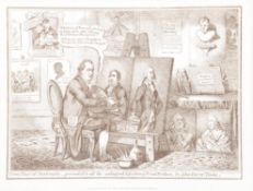 After James Gillray- five 19th century engraved prints; Uncorking Old Sherry; Two Pair of Portraits