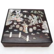 Y A Chinese mother-of-pearl inlaid hardwood box fitted with a supper set
