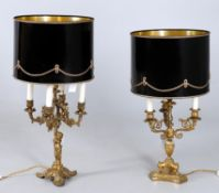 Two 19th century and later fitted for electricity French table lamps