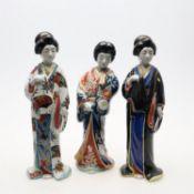 Three Japanese Kutani figures of Bijin