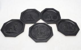 Set of five Russian black painted composition commemorative plaques