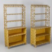 A pair of faux bamboo effect open bookcases