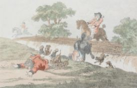 James Gillray after Brownlow North 'Hounds Throwing-Off.'; Hounds In Full-Cry.'; Coming-In At The D