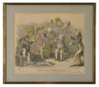 After James Gillray- seven 18th and 19th century engraved prints; Theatrical Mendicants Relieved; P