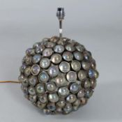Table lighting to include a spherical steel and glass mounted table lamp