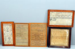 Y Five early 19th century samplers