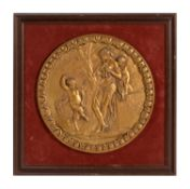 A set of three framed gilt bronze Bacchic relief roundels after Claude Michel