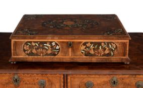 A William & Mary walnut oyster veneered and marquetry inlaid lace box, circa 1690