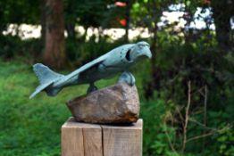 Adam Warwick Hall, Harrier Hawk, Bronze with ice blue patination
