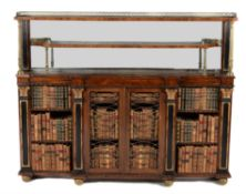 A Regency rosewood and brass mounted breakfront side cabinet, circa 1815