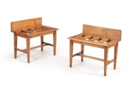 A pair of oak and chestnut luggage stands, late 19th/ early 20th century