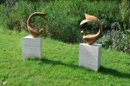 Alison Berman, Fishbirds, Bronze patinated resin