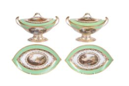A pair of Derby pale-green ground navette-shaped sauce tureens