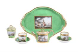 A Derby green ground and gilt French Revolutionary Wars Naval action cabaret service