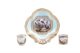 A Derby pale-blue ground and gilt quatrefoil dish
