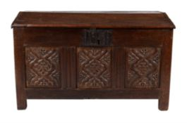 An oak chest or ark, first half 17th century