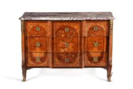Y A Louis XVI kingwood and floral marquetry breakfront commode, late 18th century,