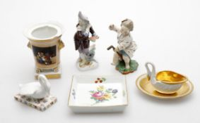 Continental ceramics to include a Continental porcelain figure of a journeyman with bellows