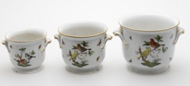 A graduated set of three Herend porcelain jardinières