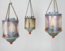 A set of three hand painted glass lanterns in the Ottoman style