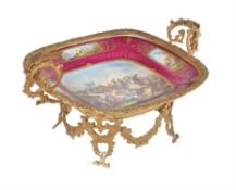 A French Sevres-style porcelain and gilt metal mounted twin handled comport